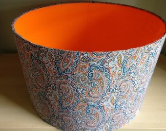 Liberty Paisley 40cm Drum Lampshade with Orange Lining