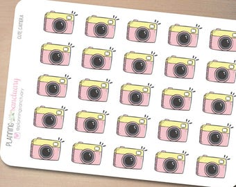 Cute Camera Planner Stickers Perfect for Erin Condren, Kikki K, Filofax and all other Planners