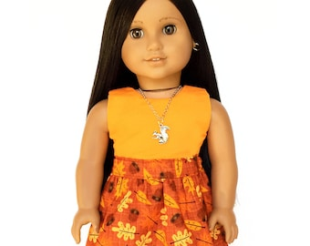 Flare Skirt, Leaves, Brown, Orange, Black, Fall, Fits dolls such as American Girl, 18 inch Doll Clothes