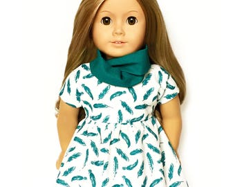 Dolman Dress, Feathers, Teal Blue,  White, Short Sleeve, Fall, American, 18 inch Doll Clothes
