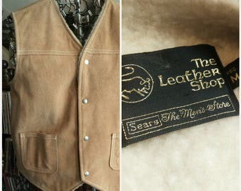 Vintage Sears Mens Store Leather Shop Suede & Faux Shearling Vest