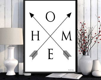 Letters home with arrows, Word home, Modern design, Home wall decor, Black white inspirational poster, Home poster, Word art, Quote print