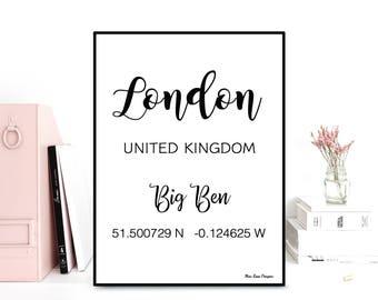 GPS London coordinates, GPS art print, Latitude longitude printable art, Wall decor, Typography quote, Black & white poster, Printable wall