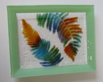 Fused Glass Plate with Fern impressions -Functional Art Glass Plate-Fossil Vitra-Green Glass