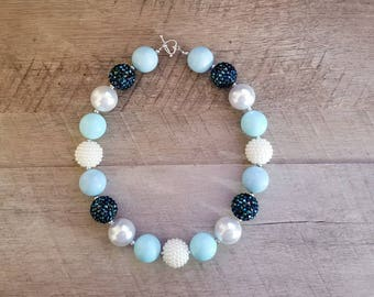 Navy Chunky Necklace, Blue Necklace, Bubblegum Bead Necklace, Navy Blue Chunky Necklace, Cake Smash Necklace, Fall Chunky Necklace