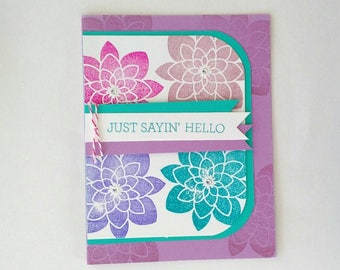 Hello Card, Just Because Card, blank Card, note card, Greeting Card, Thinking of you Card, Stampin Up card, stamped card, homemade card