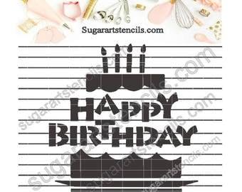 Happy Birthday cookie Stencil   Nb1593