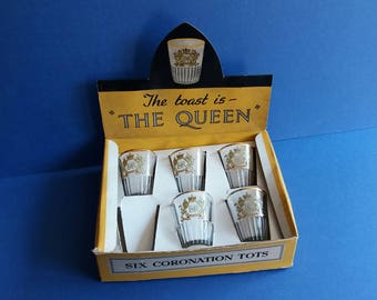"""Original 1953 Boxed Coronation Tots - Shot Glasses to toast Queen Elizabeth II - """"The Toast is The Queen"""""""