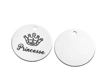 "3 pendants medallions engraved ""Princess"" 3cm stainless steel / steel charm"