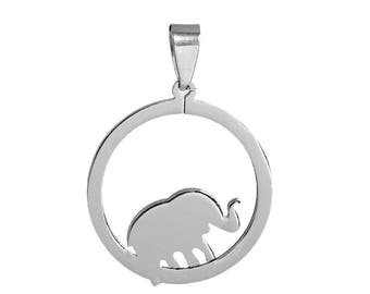 Pendant circle and Elephant 4.1 cm stainless steel