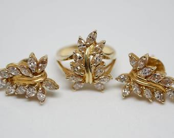 Diamond 14karat gold ring earrings set
