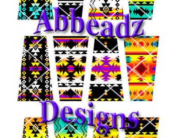 24 Native American Inspired Trapezoid Collage Sheet Rich Vibrant Colors