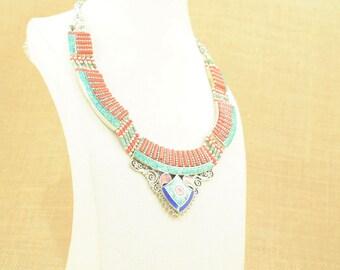 Necklace boho tribal Tibetan coral turquoise and lapisazuli, tribal gypsy boho style