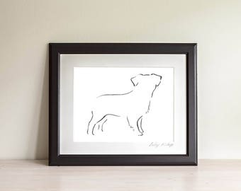 Framed Miniature Australian Shepherd Art Print, Dog lover gift, Mini Aussie Gift,  Minimalist Line Art Print, Dog Art, Modern Line Drawing