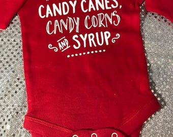 Buddy the Elf 4 Food Groups Candy Candy Canes Candy Corns & Syrup Baby Onesie