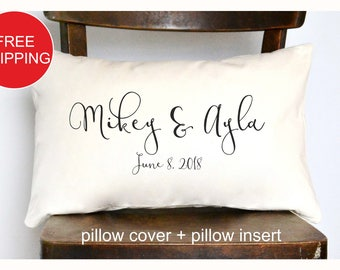 Personalized pillow, Wedding gift , Anniversary gift pillow, Newlywed Gift,Engagement Gift, Bridal shower gift , Wedding gift pillow (P1)