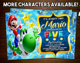 Custom Super Mario Bros Invitation - 5x7 or 4x6