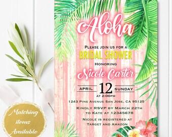 Digital file or Printed- Aloha Bridal Shower invitation-Neon Letters-Tropical Invitation-Hawaiian Baby Shower Invitation-Luau-Free Shipping