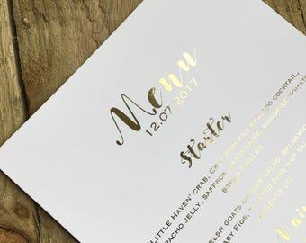 Elegant wedding gold foil menus- wedding menus, gold foil
