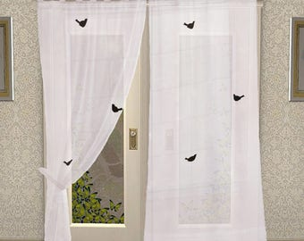 2pcs tab top cotton window door curtain bedroom dining room white color