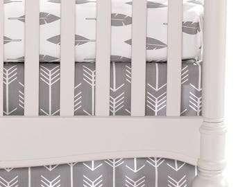 Woodland White Arrows on Gray Crib Skirt |Woodland Neutral Nursery | Gender Neutral Baby Bedding | Woodland Crib Skirt | Arrow Crib Skirt