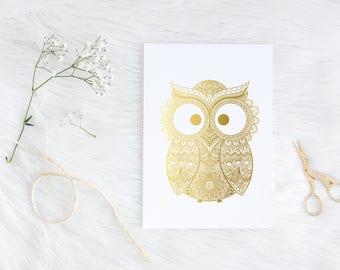 Nursery Decor, Nursery wall art, Owl print, Owl art, Gold foil print, Baby shower gift, Nursery Art, Owl decor, Owl gifts, Nursery prints