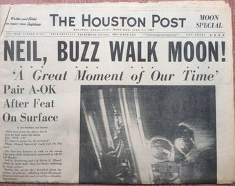 Houston Post - 21 July 1969 - Moon Landing Special - NEIL and BUZZ Walk on Moon