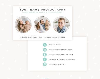 Photography Business Card Template, Photoshop Template, Photo Business Cards, Photography Marketing, Circles Business Card for Photographers