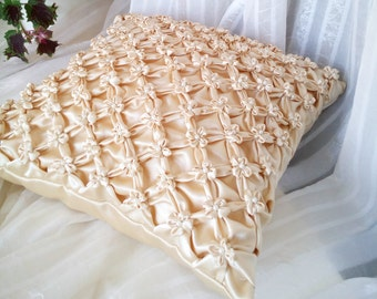 smocked beaded pillow beige cushion cover flowers pillow beaded cushion beige cushion