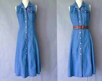 Vintage denim button down sleeveless dress /maxi dress/no excuse women's size S/M