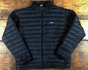 Patagonia Down Sweater Zip Up Black Jacket Sz XL