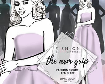 The Arm Grip  | Fashion Template, Fashion Illustration, Croquis, Fashion drawing
