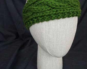 Olive Green Hand Knit, Cabled Headband; Baby, Toddler, Kid