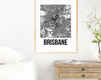 Brisbane City Map Print - Black and White Minimalist City Map - Brisbane Map - Brisbane Print - Many Sizes/Colours Available