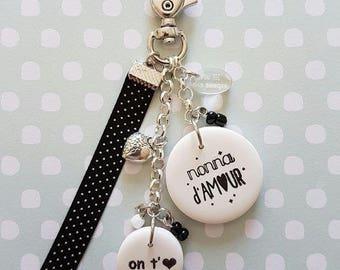 "Grandma Nonna love keychain or bag charm ""I love you"""