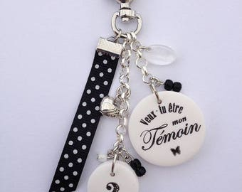 """Witness bag charm or keychain """"will you be my best man?"""""""
