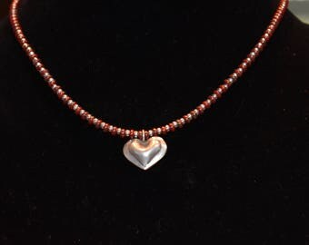 Jewelry - Necklace - Red Glass Beads - Sterling Silver Beads - Sterling Silver Heart Pendant