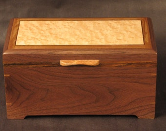 Exotic Wood Box, Keepsake, Letter, Valet, Treasure Box. Made with Wavy Walnut,  Bocote inlay around Birds Eye Maple top. Item #B194