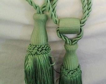 Vintage Green Curtain Tie Backs Tassels