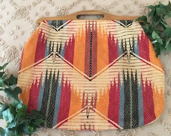 1950's  Wooden Handled Sewing or Crochet Carrying Bag