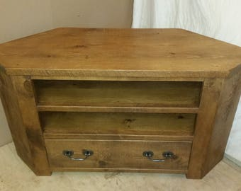 Rustic plank Furniture NEW Real Solid Wood Corner Tv Cabinet Stand Entertainment Unit With Drawer Rustic Plank Pine Furniture rustic pine