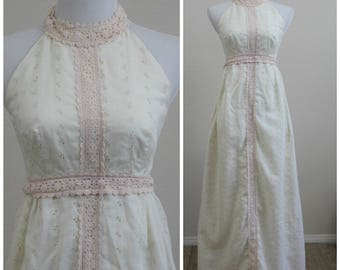 Vintage 60's Plush Pink Babydoll Eyelet Lace Halter Maxi Dress Metal Zipper