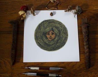 The Green Woman Illustration Art Print, Circle Series, Nesting Series