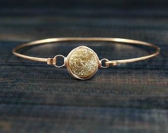 Bridal Bracelet, Wedding Bracelet, Bridesmaid Bracelet, Rose Gold Bracelet, Dainty Bracelet, Minimalist Bracelet, Druzy Bracelet, Champagne