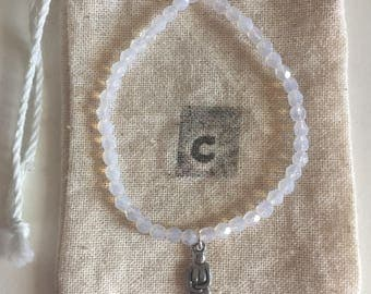 Faceted Opalite Bracelet with Goddess Charm
