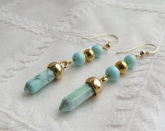 Gold and Turquoise Howlite Point Drop Earrings, GE-225