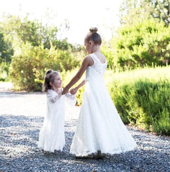 Lace flower girl dress, flower girl dresses, Lace girl baby dresses, white lace dress, flower girl dress white lace, First Communion Dress