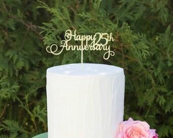 Happy 25th Anniversary Cake Topper, Gold Silver Cake Topper, Anniversary Cake Topper, Personalized Cake Topper,Gold Cake Topper, Anniversary