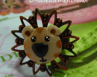 Ring adjustable polymer clay kawaii bronze lion metal tray hand painted