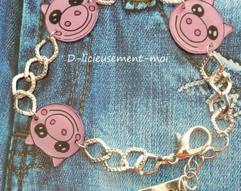 Chain bracelet in silver metal 3 little pigs crazy crazy plastic handpainted charm love